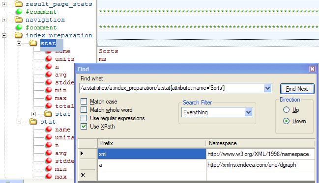 XML Notepad finds elements with XPath provided you use the namespace prefix